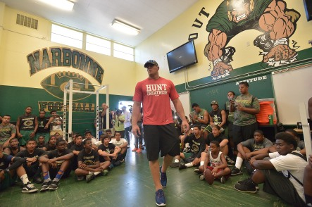 LOS ANGELES, CA - JULY 17:  JJ Watt Surprises Fans In Los Angeles With Reebok For #TurnUp4Watt at Narbonne High School on July 17, 2015 in Los Angeles, California.  (Photo by Charley Gallay/Getty Images for Reebok)