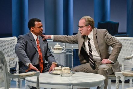 Shawn Hamilton as Rev. Martin Luther King Jr. and Brandon Potter as President Lyndon Baines Johnson in the Alley Theatre's All the Way.